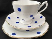 60's Blue polka dot tea trio